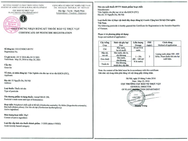 Chứng Nhận Đăng Ký Thuốc Bảo Vệ Thực Vật được Cục Bảo Vệ Thực Vật Cấp