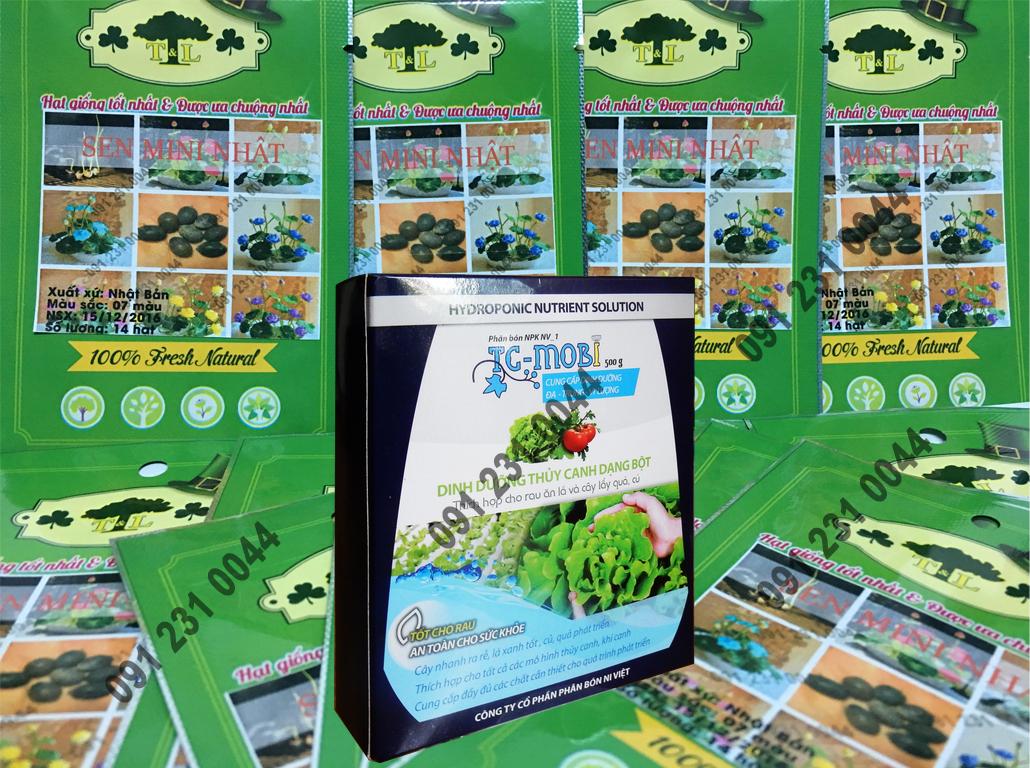 Bộ Hạt Giống Sen Mini Nhật Bản Thủy Canh ( 1 Gói Hạt Giống 14 hạt 7 màu+ 01 gói Bột Thủy Canh )